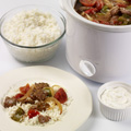 Serve beef mixture with hot rice. Top with sour cream.