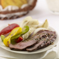 Serve London Broil and vegetables drizzled with remaining vinaigrette.
