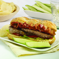 Enjoy this meal with dill pickle wedges.